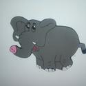 Elefánt dekorgumi falmatrica, Baba-mama-gyerek, Dekoráció, Gyerekszoba, Falmatrica, Mindenmás, 2 mm-es dekorgumiból készült elefánt fali dekoráció, hátoldalán kétoldalú ragasztóval. Mérete 16 cm..., Meska