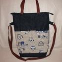 Farmer baglyos táska, Táska, Válltáska, oldaltáska, Varrás, Farmerból és bagolymintás vászonanyagból készítettem el ezt a praktikus táskát.   Kétféleképpen hor..., Meska