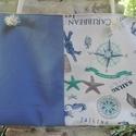 Óriás strandáska tengerész mintás, Táska, Válltáska, oldaltáska, Kék enyhén elasztikus pamutból és hajómintás franciavászonból készítettem el ezt a praktik..., Meska