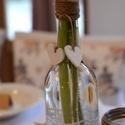 Váza csipkével és vászonnal, Esküvő, Otthon, lakberendezés, Esküvői dekoráció, Asztaldísz, Újrahasznosított alapanyagból készült termékek, Mindenmás, Újra hasznosítással készítettem el ezt az elegáns  de egyszerű vázát.  Zsákvászonnal és csipkével v..., Meska