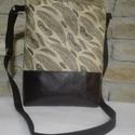 Toll mintás táska, Táska, Válltáska, oldaltáska, Toll mintás pamutvászonból és sötétbarna textilbőrből készítettem el ezt a táskát.  Kere..., Meska