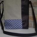 Pöttyös táska, Táska, Válltáska, oldaltáska, Varrás, Pöttyös elasztikus farmer anyagbó,l fekete textilbőrből és kheki zöld vászonból készítettem el ezt ..., Meska