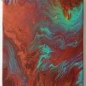 Zöld hullám, Dekoráció, Otthon, lakberendezés, Kép, Falikép, Festészet, Akril festmény, vakrámára feszített vásznon. Mérete: 24X30 cm., Meska