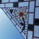 Mozaik tükör keret virág dísszel, Otthon & Lakás, Dekoráció, Tükör, Mozaik, Márvány lapra ragasztva, sárga virág dísszel a jobb felső sarkában, kis szívvel, világos és zöld má..., Meska