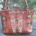 Egyedi Női bőr táska, Táska, Bőrművesség, Festett tárgyak, Egyedi,egy darabos Női bőr steampunk táska.2mm-s marhabőrből,vászon béléssel,kivehető cipzáros bels..., Meska