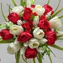 Vörös-halvány ekrü tulipános menyasszonyi csokor, Esküvő, Esküvői csokor, Egyedi menyasszonyi csokor halvány ekrü és vörös selyem tulipánból. Már majdnem kész! Kérlek beszélj..., Meska