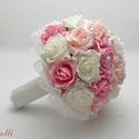 Pink-Rózsaszín gyöngyös  menyasszonyi csokor Rendelhető!, Esküvő, Esküvői csokor, Rendelhető!  Egyedi Fehér, rózsaszín, világos pink habrózsából kötöm,  tekla gyöngyfüzérrel díszítem..., Meska