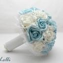 Kék - fehér menyasszonyi csokor,  Menyasszonyi csokor  Fehér,  világoskék habró...