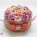 Vintage színű virágdoboz, Esküvő, Otthon, lakberendezés, Esküvői dekoráció, Asztaldísz, Különleges egyedi selyemvirágokkal díszített vintage virágdíszdoboz. 13x13cm-es magassága 16cm  A tö..., Meska