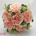 Rózsaszín selyemcsokor, Esküvő, Esküvői csokor, Hajdísz, ruhadísz, Élethű barackos rózsaszín selyemrózsa csokor, minőségi kidolgozással keresi menyasszonyát. :) Mérete..., Meska