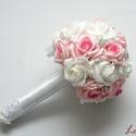Luxus ékszercsokor, Esküvő, Esküvői csokor, Azonnal viheted ezt a szépséget! Megrendelni sem kell...  Fehér és rózsaszín habrózsából strasszos c..., Meska