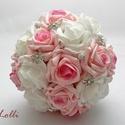 Luxus ékszercsokor, Esküvő, Esküvői csokor, Virágkötés, Azonnal viheted ezt a szépséget! Megrendelni sem kell...  Fehér és rózsaszín habrózsából strasszos ..., Meska