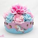 Unikornis virágbox, virágdoboz, A kék és rózsaszín dobozt körben három cuki ...