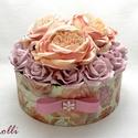 BigRoses virágdoboz - virágbox, Esküvő, Otthon, lakberendezés, Esküvői dekoráció, Asztaldísz, Hatalmas barack szín és poros lila rózsákkal díszített vintage stílusú elegáns ajándék virágdoboz, v..., Meska