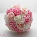 Pink-Rózsaszín gyöngyös  menyasszonyi csokor és kitűző Mónikának!, A szett: 1db pink-rózsaszín habrózsás menyassz...