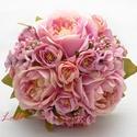 Bazsarózsás selyemvirág menyasszonyi örökcsokor, Minőségi selyemvirágból készítettem ezt a cs...