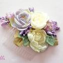 Romatikus lila-ekrü fejdísz, Esküvő, Hajdísz, ruhadísz, Lila és ekrü selyemvirágokból csipkével és barack gyöngyökkel készült egyedi fejdísz. Befoglaló mére..., Meska