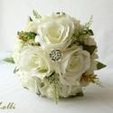 Ekrü selyemvirág menyasszonyi örökcsokor, Minőségi selyemvirágból készítettem ezt a cs...