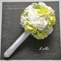 Zöld-fehér örökcsokor, Esküvő, Esküvői csokor, Ez kész van! Máris viheted ezt a szépséget!  Megrendelni sem kell...  zöld habrózsából, virágokkal, ..., Meska