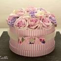 Egyedi rózsaszín rózsadoboz - virág box virágdoboz