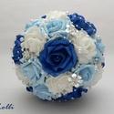 Kék luxus menyasszonyi csokor, Esküvő, Esküvői csokor, Csak rendeld meg, és ezzel a varázslatos és finom eleganciát sugárzó kék-fehér habrózsás színátmenet..., Meska