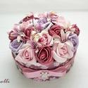 RomanticRosebox közepes , Esküvő, Otthon, lakberendezés, Esküvői dekoráció, Asztaldísz, Lepd meg szeretteidet ezzel a romantikus virágdobozzal, melybe csodaszép mályva, rózsaszín és  lila ..., Meska