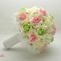 Pink-zöld gyöngyös ékköves menyasszonyi csokor Rendelhető!, Esküvő, Esküvői csokor, Rendelhető!  Egyedi ekrü, rózsaszín közepű, és zöld közepű habrózsából kötöm,  tekla gyöngyfüzérrel,..., Meska