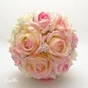 Ékköves rózsaszín-ekrü örökcsokor, Esküvő, Esküvői csokor, Ez kész van! Máris viheted ezt a szépséget!  Megrendelni sem kell...   Az esküvőd igazi fénypontja l..., Meska