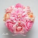 rózsaszín ózsadoboz - virág box virágdoboz - kis méretű, Esküvő, Otthon, lakberendezés, Esküvői csokor, Esküvői dekoráció, Rózsaszín habrózsákkal, egy rózsaszín selyem dáliával és ragyogó ékköves gyöngyöjkkel díszített kere..., Meska
