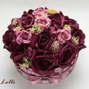 Bordó RomanticRosebox nagy méretű, Esküvő, Otthon, lakberendezés, Esküvői csokor, Nászajándék, Lepd meg szeretteidet ezzel a romantikus virágdobozzal, melybe csodaszép mályva kis selyemrózsákkal,..., Meska