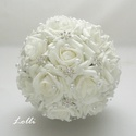 Ékköves hófehér örökcsokor, Esküvő, Esküvői csokor,  Az esküvőd igazi fénypontja lehet ez hófehér habrózsából, pazar csillogó strasszos virágokkal, gyön..., Meska
