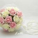 Ekrü-rózsaszín dobócsokor , Esküvő, Esküvői csokor, Ekrü-rózsaszín habrózsás dobócsokor  Rendelhető! Átmérője 16cm Magassága 24cm, Meska