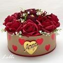 Vörös rózsás - anya feliratos szives box virágbox virágdoboz - kicsi, Lepd meg anyukádat ezzel a romantikus virágdoboz...