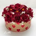 Bordó rózsás szives box virágbox virágdoboz - közepes, Esküvő, Otthon, lakberendezés, Esküvői dekoráció, Nászajándék, Lepd meg szeretteidet ezzel a romantikus virágdobozzal, melybe csodaszép bordó habrózsákból és bordó..., Meska