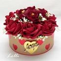 Vörös rózsás - anya feliratos szives box virágbox virágdoboz - kicsi, Esküvő, Otthon, lakberendezés, Anyák napja, Esküvői dekoráció, Lepd meg anyukádat ezzel a romantikus virágdobozzal, melybe csodaszép vörös habrózsákból és bordó bo..., Meska