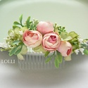 Rózsaszín boglárkás fejdísz, Rózsaszín boglárkás fejdísz, apró zöld leve...