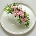 Rózsaszín rózsás fejdísz, Esküvő, Ruha, divat, cipő, Hajdísz, ruhadísz, Hajbavaló, Rózsaszín rózsás fejdísz, apró zöld levélkékkel, rezgővel és rózsaszín papír rózsákkal díszítve. Bef..., Meska