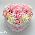 Nagy rózsaszín dáliás szív box - virágbox, virágdoboz, Esküvő, Otthon, lakberendezés, Meghívó, ültetőkártya, köszönőajándék, Asztaldísz, Nagy szív virágbox Fehér szív dobozkát díszítettem rózsaszín, ekrü és barack habrózsákkal és rózsasz..., Meska