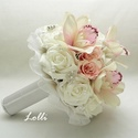 Bellefleur orchideás menyasszonyi csokor, Esküvő, Esküvői csokor, Menyasszonyi csokor  Fehér hab és rózsaszín kis selyemrózsákból, valamint blush rózsaszín selyemorch..., Meska