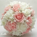 Rózsaszín menyasszonyi ékszercsokor, Esküvő, Dekoráció, Esküvői csokor, Csokor, Az esküvőd igazi fénypontja lehet ez a különleges rózsaszín és fehér habrózsákból,  hatalmas ékkőgyö..., Meska