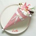 Karácsonyi Mini Csíkos Ajándékcsokor, Dekoráció, Ünnepi dekoráció, Karácsonyi, adventi apróságok, Karácsonyi dekoráció, Mini ajándékcsokor karácsonyra  Fehér és rózsaszín habrózsákkal, egy szép selyem orchideával, tobozo..., Meska