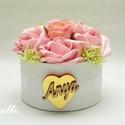 CukiMami Virágbox - Rózsadoboz, virágdoboz, Esküvő, Otthon, lakberendezés, Asztaldísz, Esküvői dekoráció, Lepd meg anyukádat ezzel a kis cuki romantikus mini virágdobozzal, melybe csodaszép rózsaszín habróz..., Meska