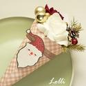 Mikulás Mini Ajándék csokor, Télapó minicsokor, Karácsonyi, adventi apróságok, Otthon, lakberendezés, Karácsonyi dekoráció, Asztaldísz, Mikulás Mini ajándékcsokor  Igazi meglepi csokor mikulásra! bordó és fehér habrózsával, tobozzal, ar..., Meska
