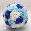 Kék-fehér gyöngyös menyasszonyi csokor, Menyasszonyi csokor Fehér, és kék árnyalatú h...