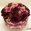 Bordó rózsás virágbox virágdoboz - nagy, Esküvő, Otthon, lakberendezés, Szerelmeseknek, Asztaldísz, Lepd meg kedvesedet, vagy szeretteidet ezzel a romantikus bordórózsás virágdobozzal, melybe csodaszé..., Meska