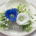 Kék-fehér menyasszonyi fejdísz, Esküvő, Ruha, divat, cipő, Hajdísz, ruhadísz, Hajbavaló, Kék és fehérszínű virágos fejdísz, apró levélkékkel, és rezgővel, valamint gyöngyökkel díszítve. Kif..., Meska