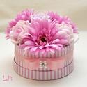Mini gerberás Virágbox, virágdoboz, Esküvő, Otthon, lakberendezés, Asztaldísz, Esküvői dekoráció, Lepd meg anyukádat, szerettedet ezzel a kis cuki romantikus mini virágdobozzal, melybe csodaszép for..., Meska
