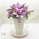Lila liliomos Vázabox, virágbox, Esküvő, Otthon, lakberendezés, Meghívó, ültetőkártya, köszönőajándék, Esküvői dekoráció, Lepd meg szeretteidet ezzel a romantikus vázadobozzal, melybe csodaszép lila liliomokból, és lila ha..., Meska
