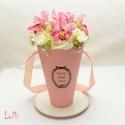 Orchideás Vázabox, virágbox, Esküvő, Otthon, lakberendezés, Asztaldísz, Meghívó, ültetőkártya, köszönőajándék, Lepd meg szeretteidet ezzel a romantikus vázadobozzal, melybe csodaszép selyemorchideákból, és ekrü ..., Meska