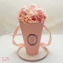 Orchideás Vázabox, virágbox, Esküvő, Otthon, lakberendezés, Meghívó, ültetőkártya, köszönőajándék, Esküvői csokor, Lepd meg szeretteidet ezzel a romantikus vázadobozzal, melybe csodaszép rózsaszn habrózsákból és ékk..., Meska